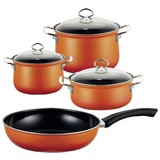 Kochtopfset Corall 4-Er Set Orange - Orange, Basics, Glas/Metall (48,5/28,5/24cm) - Riess