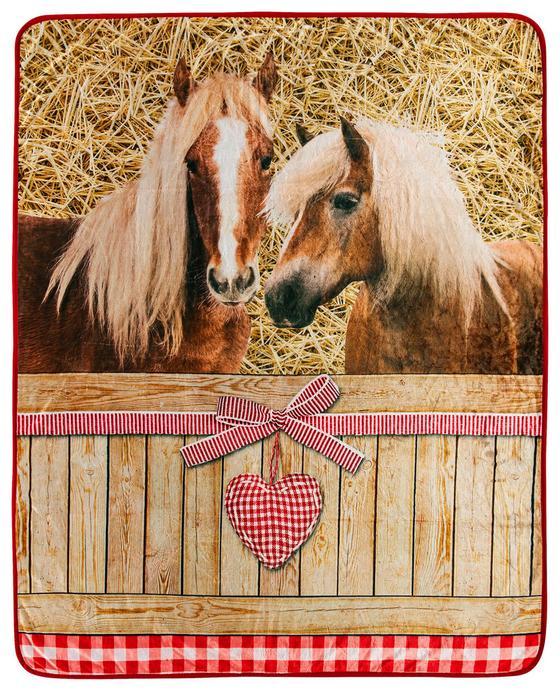 Kuscheldecke Pferde Romantik - Hellbraun/Rot, Textil (130/160cm)