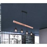 Hängeleuchte Theodor H: 120 cm 4-Flammig, Holz/Metall - Schwarz/Naturfarben, Basics, Holz/Metall (85/18/120cm)