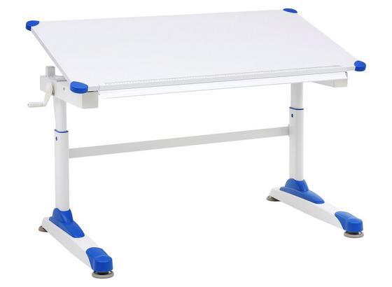 Jugendschreibtisch B: 119 cm Weiß/ Blau - Weiß, Basics, Holz/Metall (119/62/67cm) - MID.YOU
