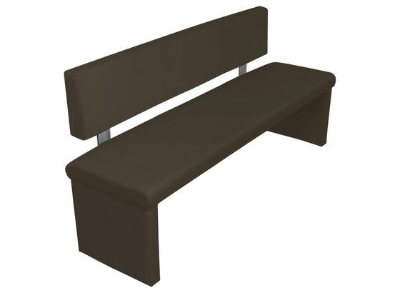 Sitzbank Charisse  B: ca. 140cm - Dunkelbraun, MODERN, Textil/Metall (140/83/54cm) - Livetastic
