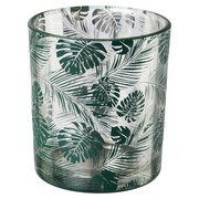 Teelichtglas Jungle ca. 7 X 8 cm - Grün, Natur, Glas (7/8cm)
