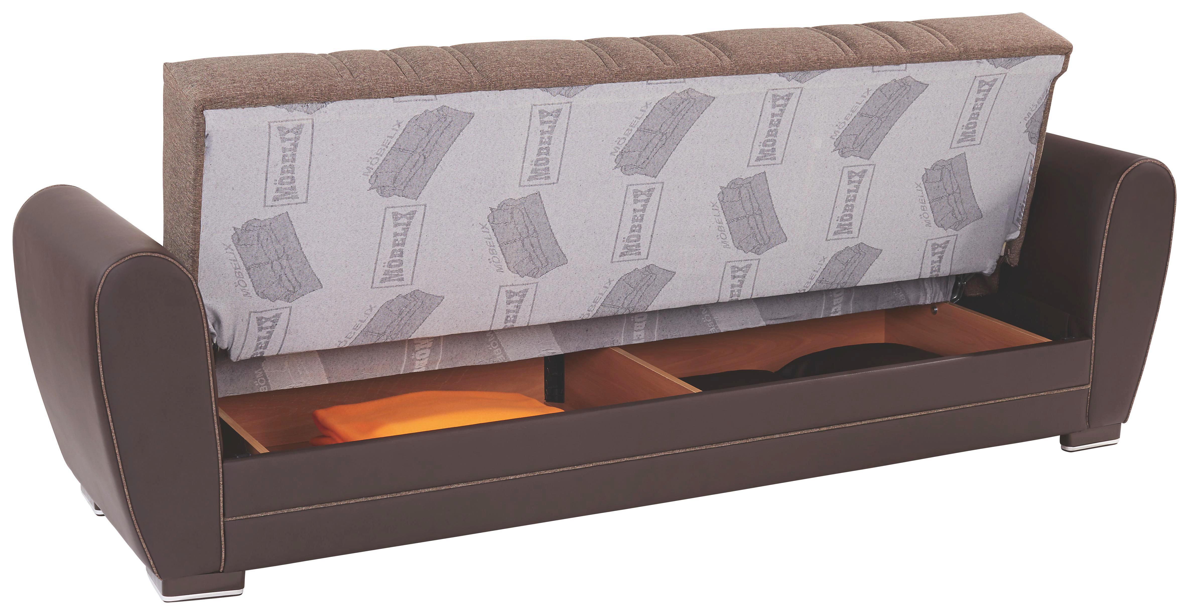 Rozkládací Pohovka Pelin - tmavě hnědá, Konvenční, kov/dřevo (235/85/90cm)