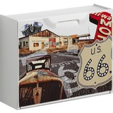 Schuhkipper Route 66/ 2 - Rot/Creme, MODERN, Kunststoff (51/40,1/17,3cm)