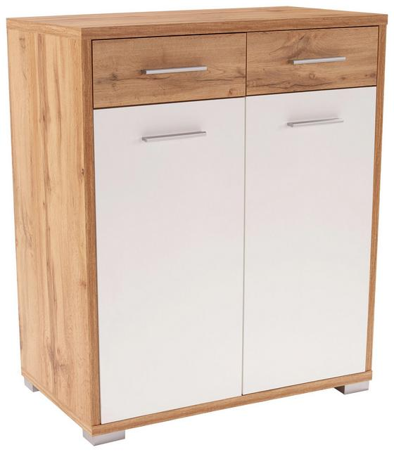 Komoda Q-big Qbk02 - bílá/tmavě hnědá, Moderní, dřevo (98/105/44cm)