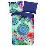 Wendebettwäsche Fiorenza - Blau/Multicolor, MODERN, Textil