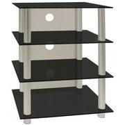 TV-Regal Blados B: 54 cm Silber, Schwarz - Silberfarben/Schwarz, KONVENTIONELL, Glas/Metall (54/70/45cm) - MID.YOU