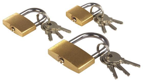 Vorhangschloss-Set mit Schlüssel - Goldfarben, KONVENTIONELL, Metall