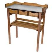 Pflanztisch Holz mit 3 Laden und Ablage BxHxT: 78x94x38 cm - Kieferfarben, KONVENTIONELL, Holz/Metall (78/94/38cm)