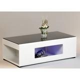 Couchtisch Glas + Beleuchtung Panda Schwarz/Weiß - Schwarz/Weiß, Design, Glas/Holzwerkstoff (120/63/40cm) - MID.YOU