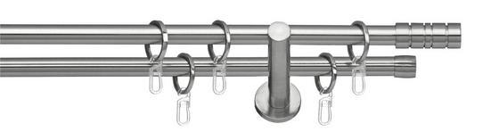 Rundstangengarnitur Mia II, 2-lfg. - Edelstahlfarben, KONVENTIONELL, Metall (200cm) - Ombra