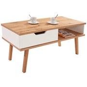 Couchtisch Holz mit Stauraum Turin 6, Weiß/ Eiche Dekor - Eichefarben/Weiß, MODERN, Holz/Holzwerkstoff (110/50/50cm)