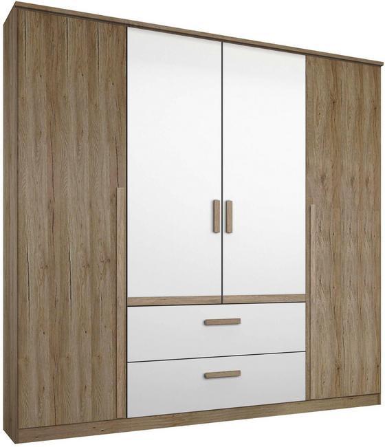 Skriňa Bernau 180 - farby dubu/biela, Moderný, kompozitné drevo (181/212/56cm)
