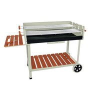 Grillwagen Calor 142x91x63 cm - Silberfarben, Basics, Holz/Kunststoff (142/91/63cm) - Ambia Garden