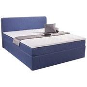 Polsterbett Carrol 140x200 im trendigen Boxspringlook - Blau, KONVENTIONELL, Holz/Textil (140/200cm)