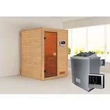 Sauna Lyon mit externer Steuerung - Naturfarben, MODERN, Holz (146/198/146cm) - Karibu