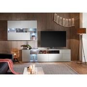 Wohnwand mit Led New Vision 18 Sonoma Eiche/Weiß Dekor - Silberfarben/Weiß, MODERN, Holzwerkstoff (275/190/38cm) - Livetastic