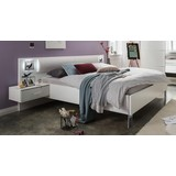 Futonbett inkl. Nachkästchen 180x200 Dubai, Weiß - Chromfarben/Weiß, Basics, Holzwerkstoff (289/92/210cm)