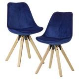 Stuhl-Set B: 49 cm Samt Blau - Blau/Eichefarben, MODERN, Holz/Textil (49/87/52cm) - MID.YOU
