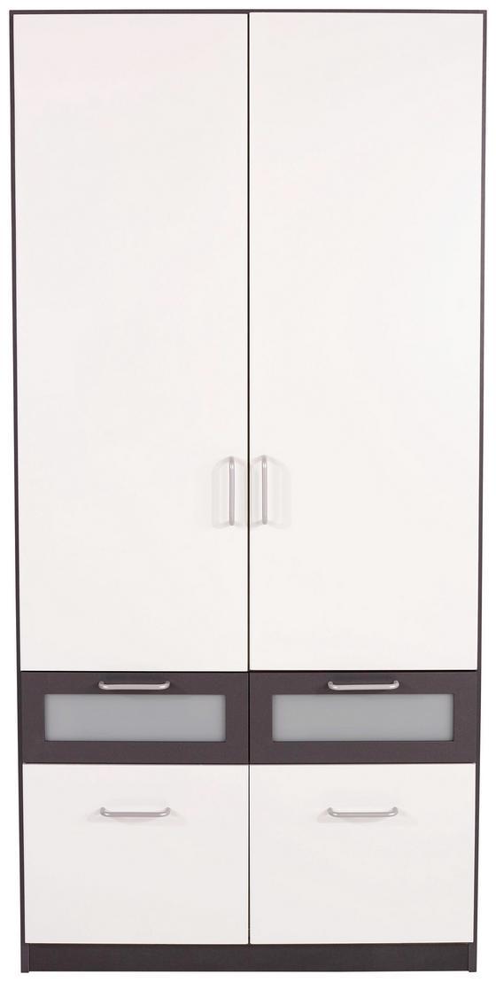 KLEIDERSCHRANK Nagold Extra, 91cm - Weiß/Grau, KONVENTIONELL, Glas/Holzwerkstoff (91/197/54cm)