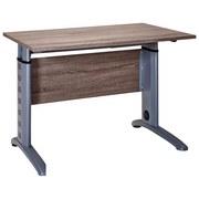 Schreibtisch Höhenverstellbar B 90cm Serie 1215, Trüffel - Eichefarben/Silberfarben, Basics, Holzwerkstoff/Metall (90/91-109,5/65cm) - MID.YOU