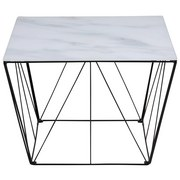 Couchtisch mit Bedrucktem Glas Squires Weiß/Schwarz - Schwarz/Weiß, Trend, Glas/Metall (60/60/43cm) - Carryhome