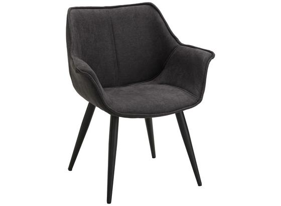 Stolička Diana Ii - čierna/sivá, Štýlový, kov/textil (63,5/75,5/67,5cm) - Modern Living
