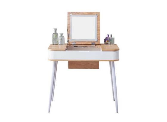 Schminktisch B: 80 cm Weiß/Natur - Naturfarben/Weiß, Basics, Glas/Holzwerkstoff (80/112/50cm)