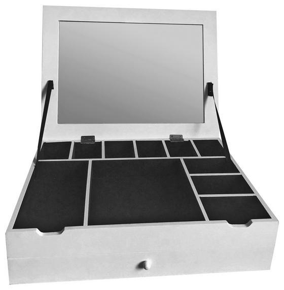 Schmuckkästchen Mia 2 - Weiß, MODERN, Glas/Holzwerkstoff (40/30/10cm)