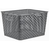 Aufbewahrungskörbchen Rattan 17 Liter - Grau, KONVENTIONELL, Kunststoff (35,5/29/22cm) - PLAST 1