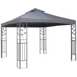 Pavillon Manila L/B/H: ca. 300/300/275cm - Grau, MODERN, Kunststoff/Metall (300/300/275cm) - Luca Bessoni