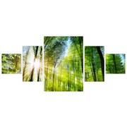Keilrahmenbild Green Lung 5-teilig - Grün, MODERN, Holzwerkstoff (70/150/2cm)