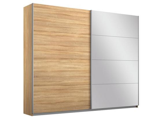 Schwebetürenschrank Belluno B:226cm Eiche Dekor/spiegel - Sonoma Eiche, MODERN, Holzwerkstoff (226/210/62cm)