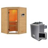 Sauna Grenoble mit externe Steuerung - Naturfarben, MODERN, Holz (145/187/145cm) - Karibu