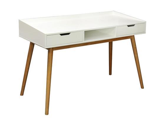 Schreibtisch Malmö 120cm Weiß - Weiß/Naturfarben, MODERN, Holz/Holzwerkstoff (120/80/55cm) - Ombra