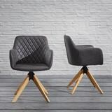 Židle S Područkami Fenna - tmavě šedá/barvy buku, Moderní, kov/dřevo (53/84/42,5cm) - Modern Living