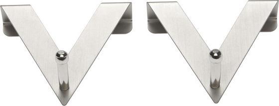 Věšák Harry  2 Ks/balení - barvy stříbra, kov (7/8/2cm) - Mömax modern living