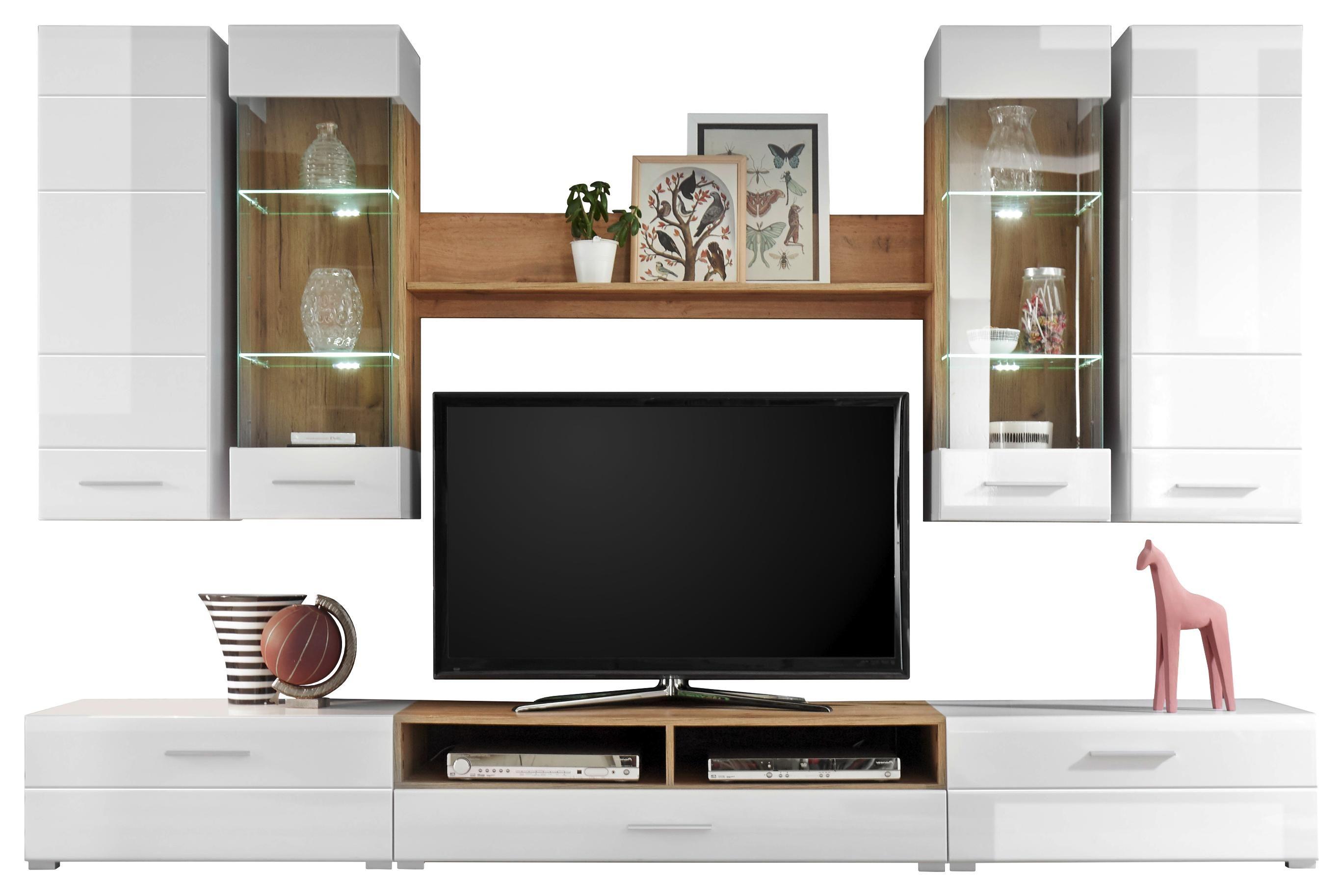 Obývací Stěna Rhodos - bílá/barvy dubu, Moderní, kompozitní dřevo/sklo (280/195/46cm)