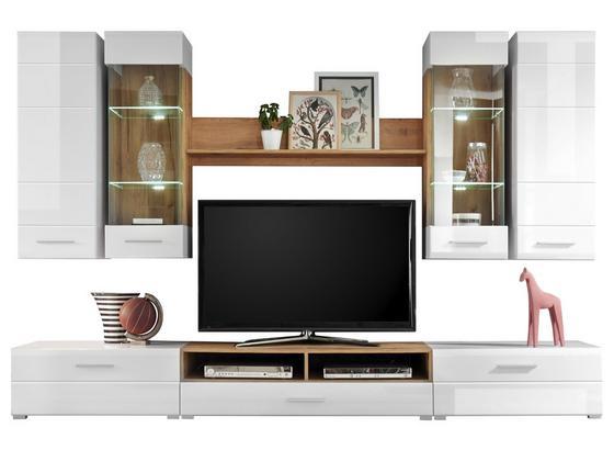 Obývacia Stena Rhodos - farby dubu/biela, Moderný, kompozitné drevo/sklo (280/195/46cm)