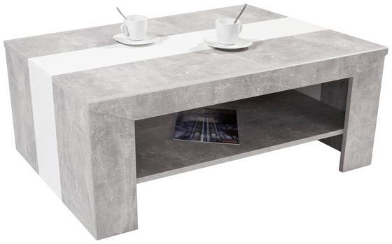 Couchtisch in Betonoptik Hell Madras mit Absetzung in Weiß - Weiß/Grau, KONVENTIONELL, Holzwerkstoff (110/40/70cm)