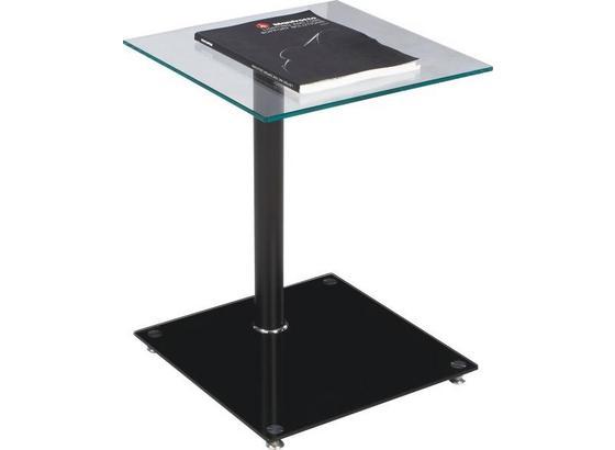 Beistelltisch mit Glasplatte Quadro, Aluminium Schwarz - Schwarz, MODERN, Glas/Metall (40/52/40cm)