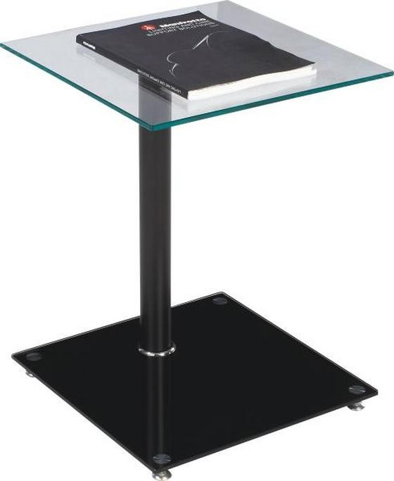 Beistelltisch Quadro - Schwarz, MODERN, Glas/Metall (40/52/40cm)