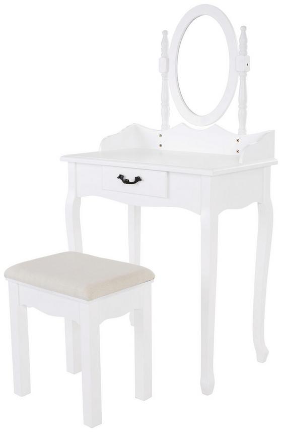 Schminktisch Sabrina 70 cm Weiß - Weiß, ROMANTIK / LANDHAUS, Glas/Holz (70/132/40cm)