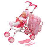 Spielpuppe Dolly 4 in1 Set - Rosa/Weiß, Kunststoff/Textil (31cm)
