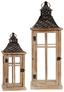 Laterne H: 67 cm - Grau, ROMANTIK / LANDHAUS, Glas/Holz (24,5/24,5/67cm)