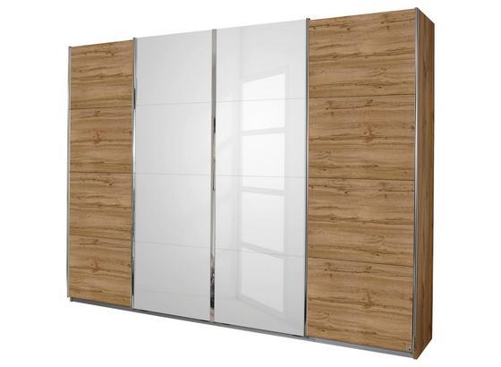 Skříň S Posuvnými Dveřmi Bensheim 361x230cm - bílá/barvy dubu, Moderní, kompozitní dřevo (361/230/62cm) - James Wood
