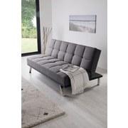 Schlafsofa mit Bettfunktion Roma Webstoff - Edelstahlfarben/Anthrazit, Basics, Textil/Metall (179/84/96cm) - Ombra