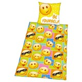 Bettwäsche Smiley - Gelb/Multicolor, LIFESTYLE, Textil