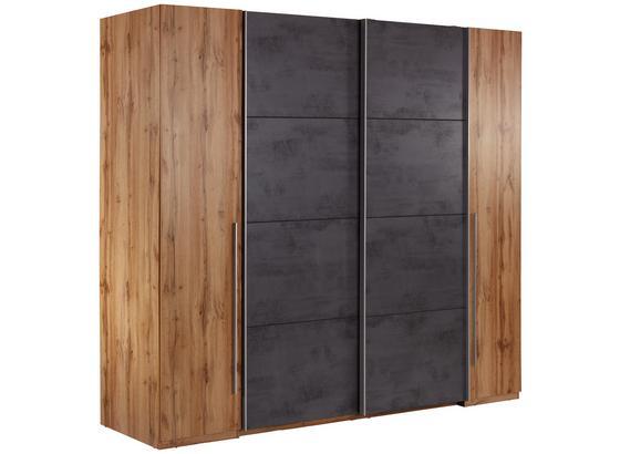 Schwebetürenschrank 267cm Tokio, Eiche/ Betonoxid Dekor - Eichefarben/Graphitfarben, MODERN, Holzwerkstoff (266,9/225,5/60,3cm)