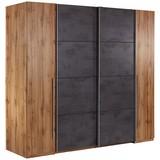 Schwebetürenschrank Tokio, 270x225cm - Eichefarben/Graphitfarben, MODERN, Holzwerkstoff (266,9/225,5/60,3cm)